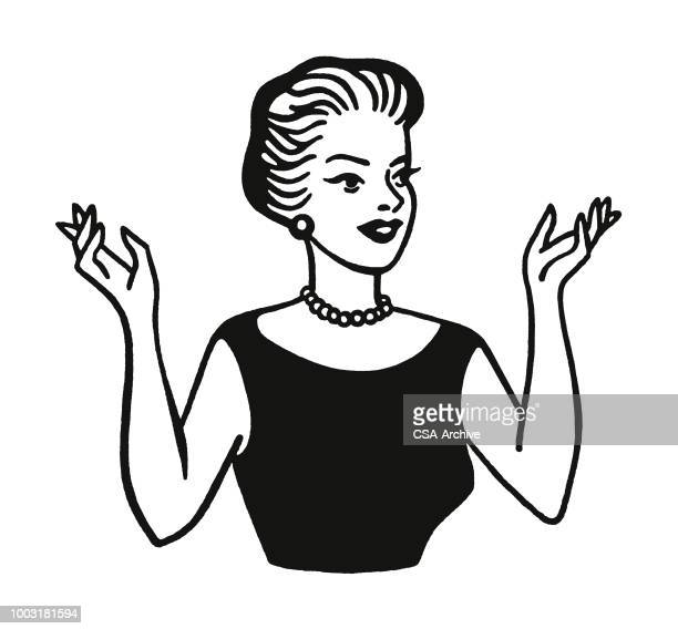 woman with hands in the air - mature adult stock illustrations