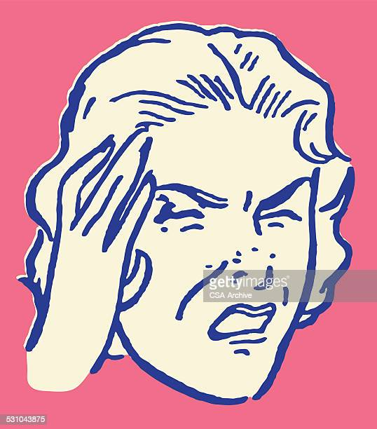 Woman with Headache and Hand to Head