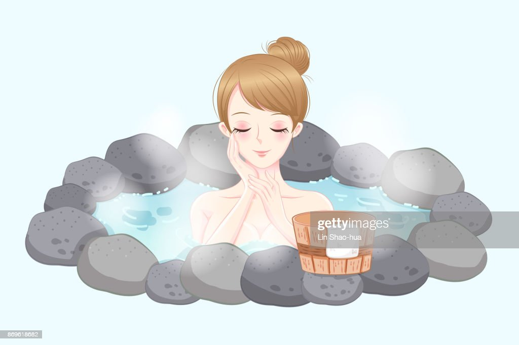 woman with hot spring