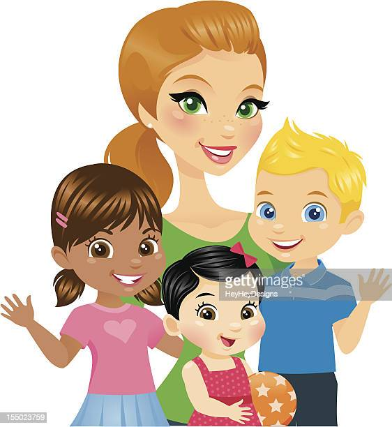 woman with kids - toddler stock illustrations, clip art, cartoons, & icons