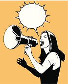 Woman With Loud Speaker in Black and White