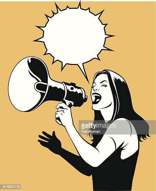 woman with loud speaker in black and white - women's rights stock illustrations