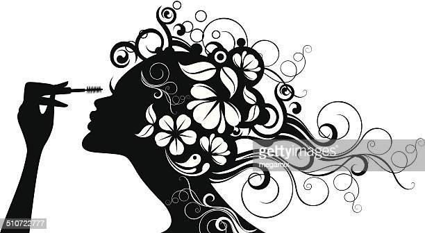 ilustrações de stock, clip art, desenhos animados e ícones de mulher de rímel. - cabelo cacheado