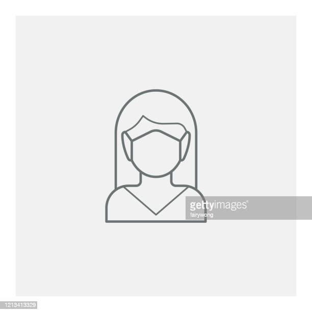 ilustraciones, imágenes clip art, dibujos animados e iconos de stock de mujer con icono de máscara médica - barbijo