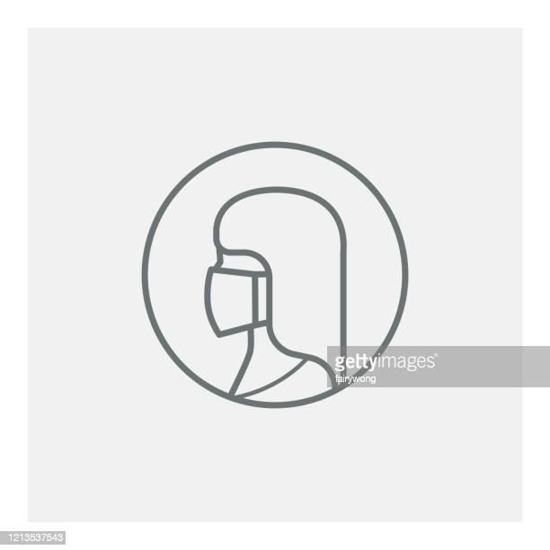 frau mit medizinischer maske symbol - mundschutz stock-grafiken, -clipart, -cartoons und -symbole