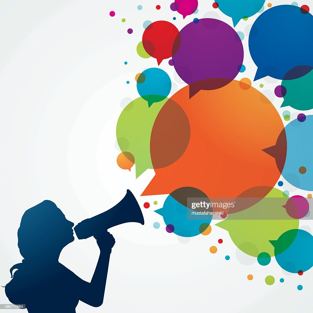 Woman with megaphone and speech bubbles : stock illustration