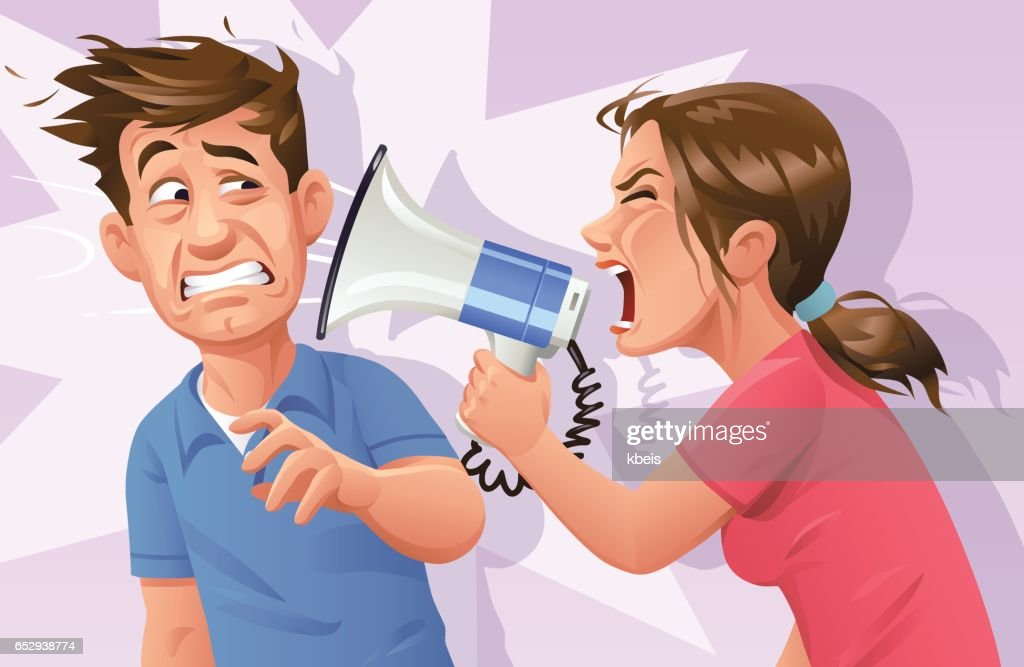 Woman With Megaphone Screaming At Man