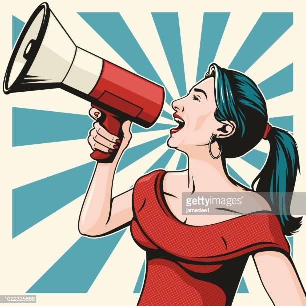 illustrazioni stock, clip art, cartoni animati e icone di tendenza di donna con megafono - megafono
