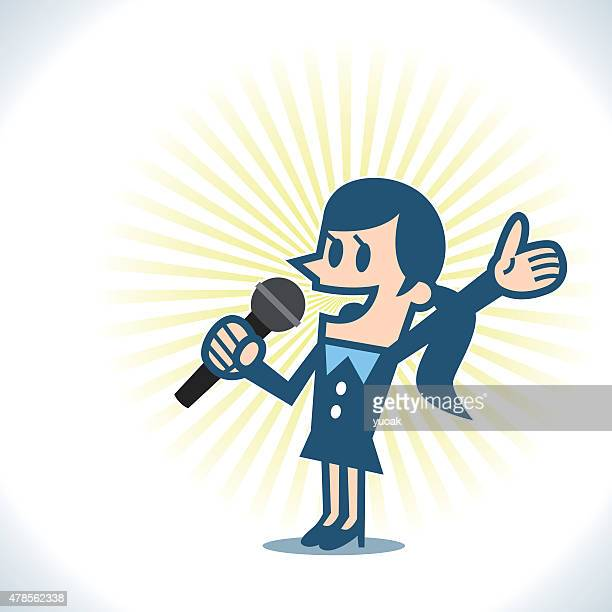 woman with microphone - comedian stock illustrations