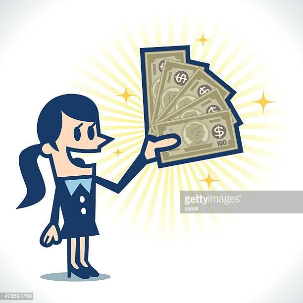 ilustrações, clipart, desenhos animados e ícones de mulher com dinheiro - bônus
