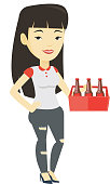 Woman with pack of beer vector illustration