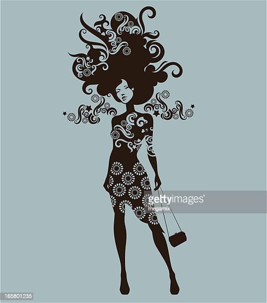 ilustrações de stock, clip art, desenhos animados e ícones de mulher com mala. - cabelo cacheado