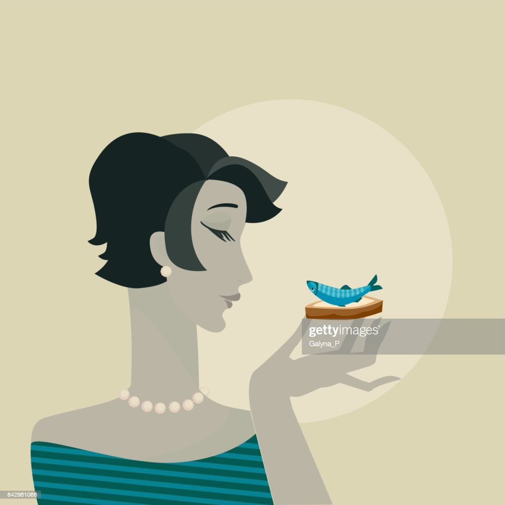 woman with seafood snack  portrait. party vector poster