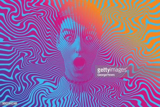 woman with shocked facial expression and halftone pattern - multiple exposure stock illustrations