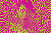 Woman with shocked facial expression and halftone pattern
