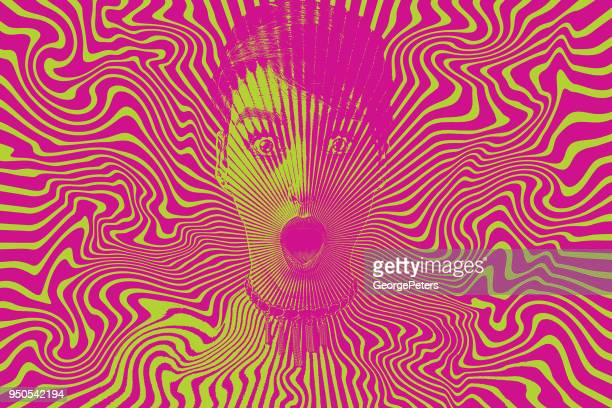ilustrações de stock, clip art, desenhos animados e ícones de woman with shocked facial expression and halftone pattern - ansiedade