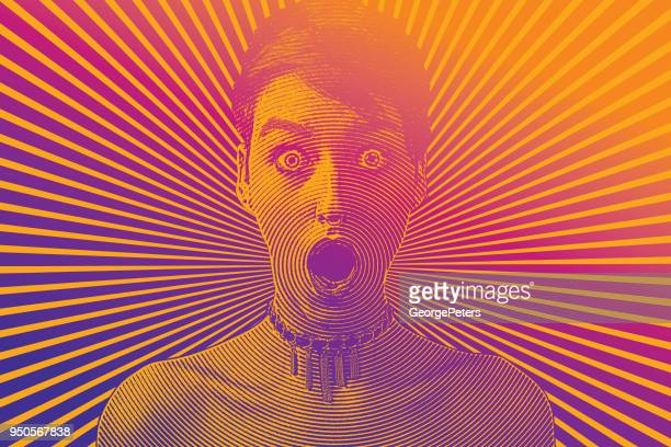 woman with shocked facial expression and halftone pattern - optical illusion stock illustrations