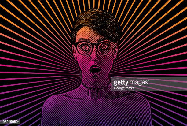woman with shocked facial expression - bisexuality stock illustrations, clip art, cartoons, & icons