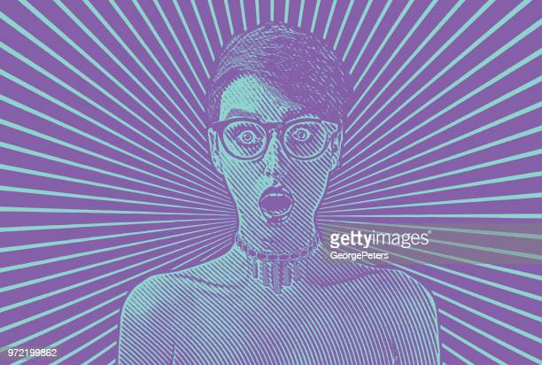 woman with shocked facial expression - bad news stock illustrations
