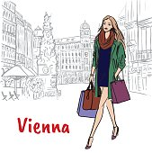 Woman with shopping bags in Vienna