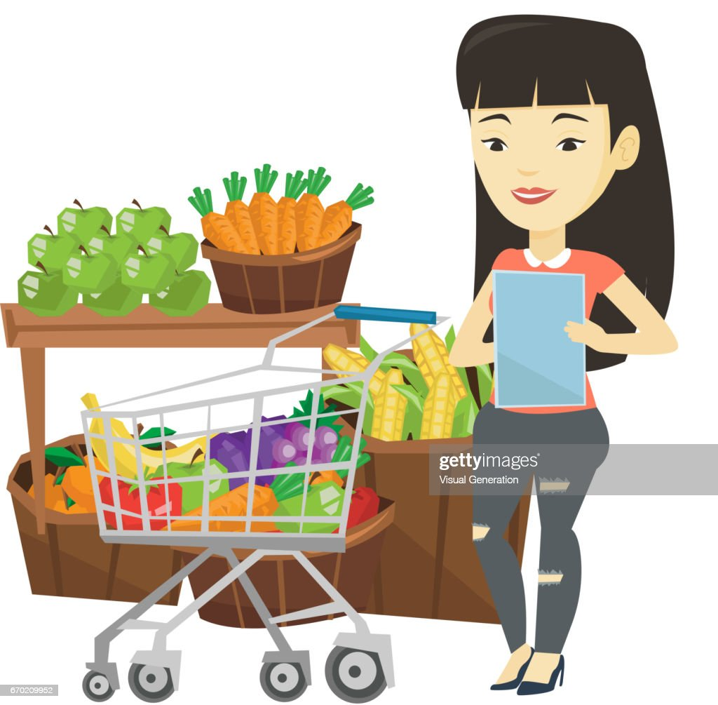e26def57ec Woman With Shopping List Vector Illustration stock vector   Getty Images