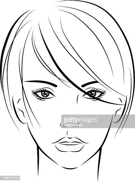 illustrations, cliparts, dessins animés et icônes de femme avec cheveux courts 05 - cheveux