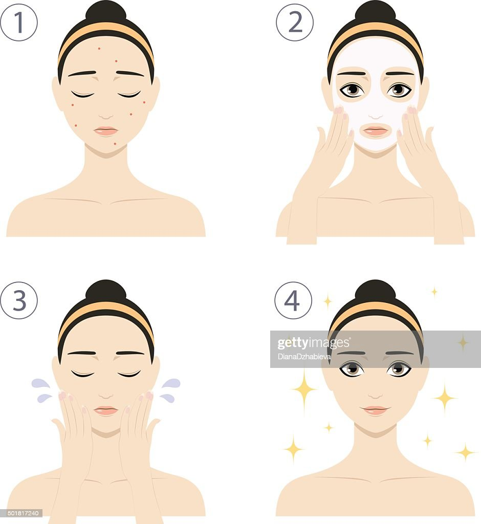 Woman with skin problems wash her face