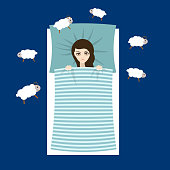 Woman with sleep problems and insomnia symptoms