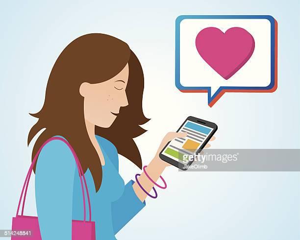 illustrations, cliparts, dessins animés et icônes de femme avec smartphone cœur - tenir
