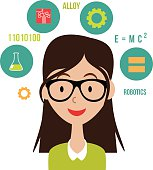 Woman with STEM icons flat design EPS10 vector