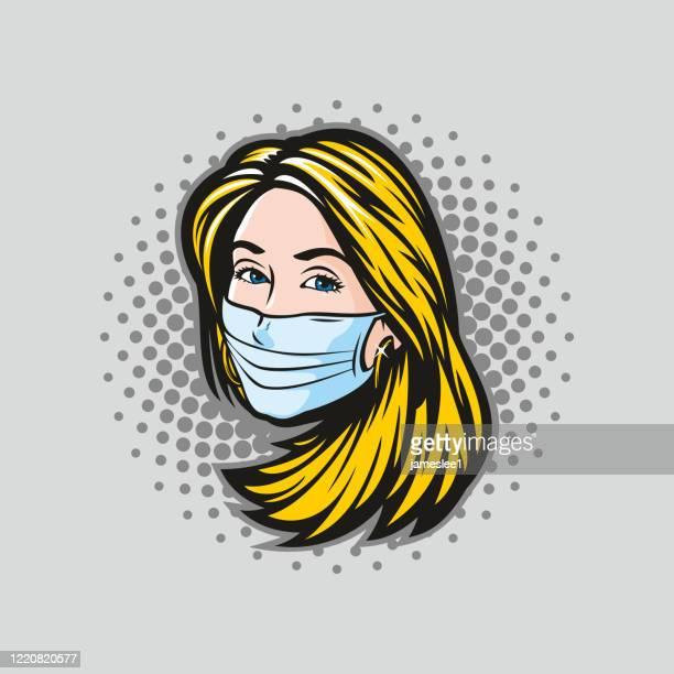 woman with surgical mask icon - woman wearing protective face mask stock illustrations