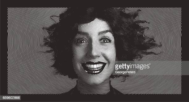 Woman with surprised expression and tangled hair