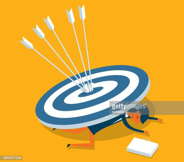 woman with target - office politics stock illustrations, clip art, cartoons, & icons