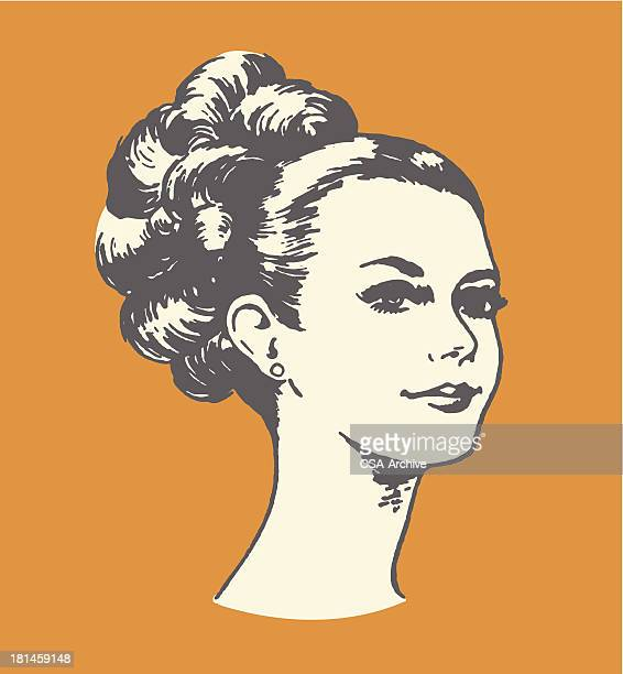 woman with updo - beautiful woman stock illustrations, clip art, cartoons, & icons