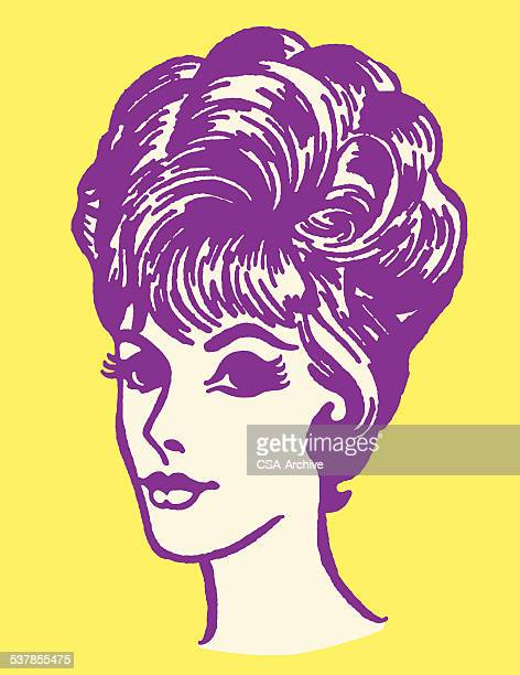 woman with updo - updo stock illustrations, clip art, cartoons, & icons
