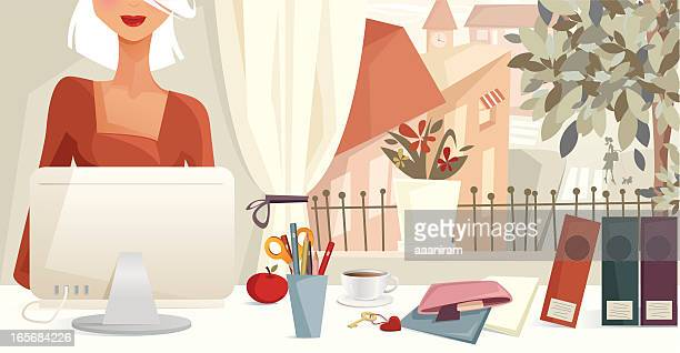 Woman Working At Computer With Suburban Window View