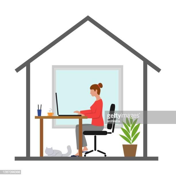 自宅で働く女性 - 在宅勤務点のイラスト素材/クリップアート素材/マンガ素材/アイコン素材