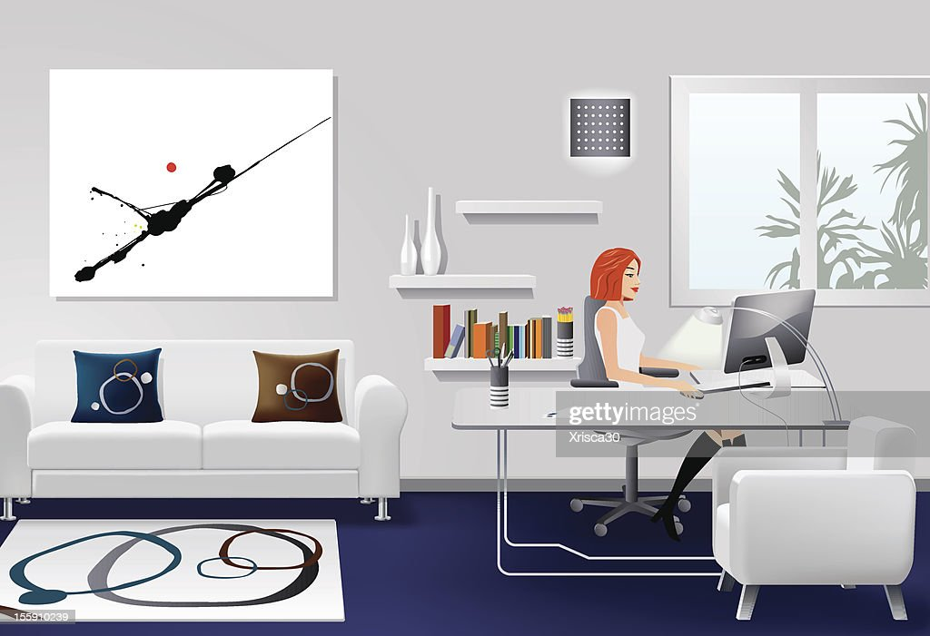 Woman Working in Modern Office Interior