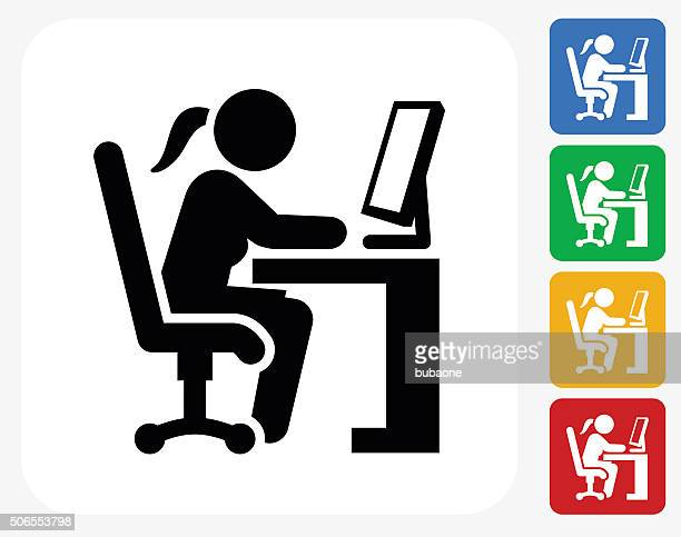 Woman Working on Computer Icon Flat Graphic Design