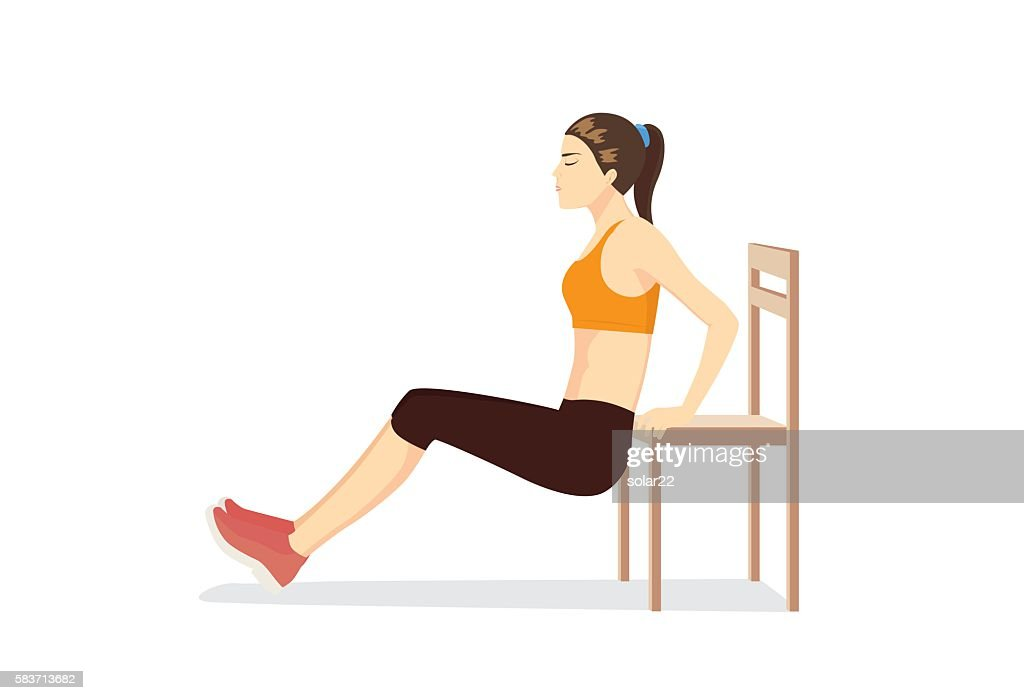 Woman workout with chair for body firming.