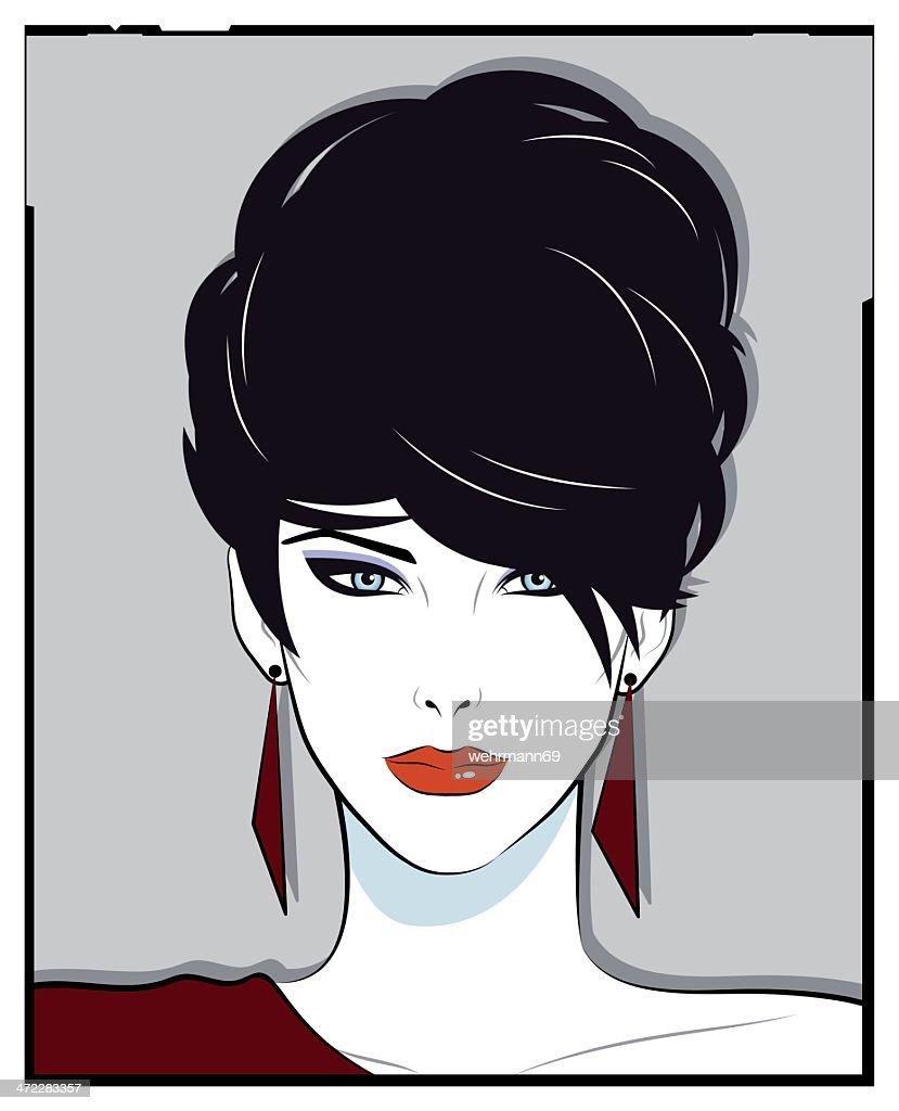 Womanportrait in eighties style : stock vector