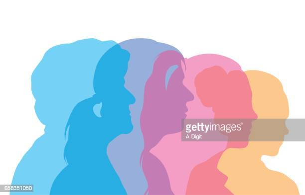 woman's aging process profile heads - mature adult stock illustrations