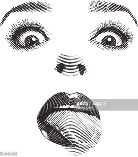 woman's eyes and lips with tongue sticking out - eye make up stock illustrations, clip art, cartoons, & icons