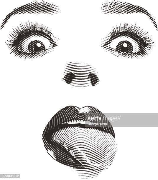 ilustraciones, imágenes clip art, dibujos animados e iconos de stock de de mujer ojos y labios con la lengua de fuera - maquillaje para ojos