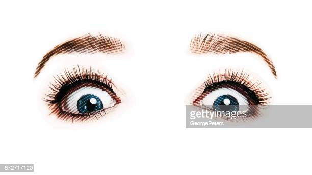Woman's eyes and nose with shocked expression