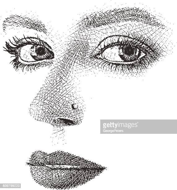woman's eyes, nose and mouth. high key, cut out. - high key stock illustrations, clip art, cartoons, & icons