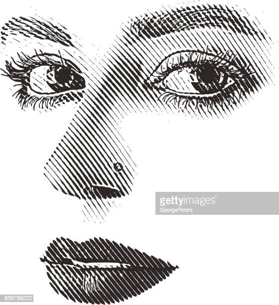 Woman's eyes, nose and mouth. High key, cut out.