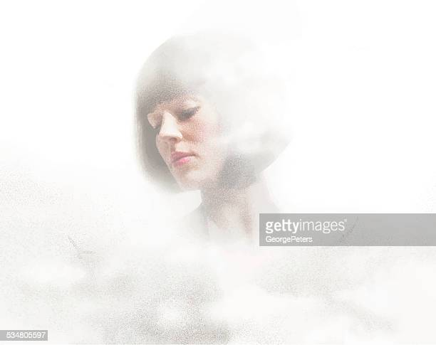 Woman's Face and Clouds