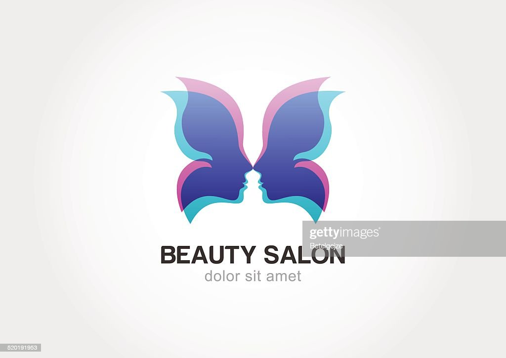 Woman's face in butterfly wings. Vector logo template.