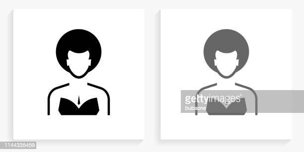 Woman's Face Portrait Black and White Square Icon